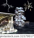 futuristic city with the modern skyscraper 3D 31579017