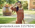 Summer portrait pretty girl in hat smiling having fun in warm da 31579242