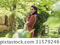 sunny, garden, woman 31579246