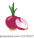 Red onion with slice flat design. 31579527