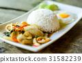 Thai food,Spicy stir fried squid with basil leave  31582239