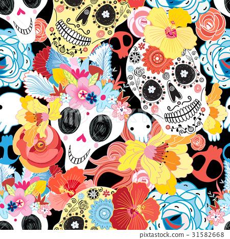 Cool pattern funny skulls 31582668