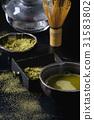 Green tea matcha powder and drink 31583802