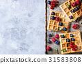Belgian waffles with berries 31583808