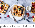 Belgian waffles with berries 31583816