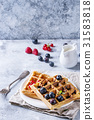 Belgian waffles with berries 31583818