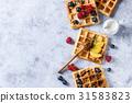 Belgian waffles with berries 31583823