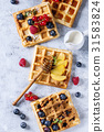 Belgian waffles with berries 31583824