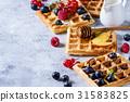 Belgian waffles with berries 31583825