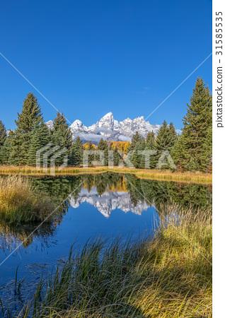 Scenic Teton Fall Reflection 31585535