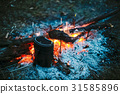 Food Is Cooked Over A Fire In An Old Vintage Retro 31585896