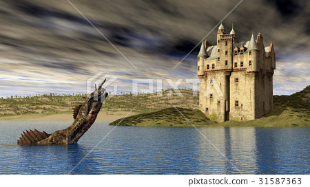 Loch Ness Monster and Scottish Castle 31587363