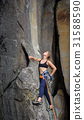 Female climber climbing with rope on a rocky wall 31588590