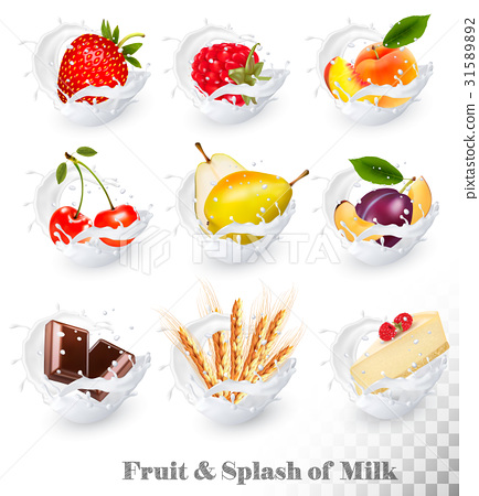 Big collection of fruit in a milk splash. 31589892