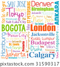 Cities in the world word cloud collage 31590317