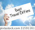 Best Travel Offers  Sign on white paper. 31591161