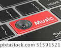 Music button, red key on  keyboard. 3D rendering 31591521