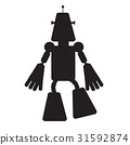 Isolated robot toy silhouette 31592874