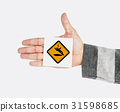 Hand Shoot Showing Slip Caution Sign Attention Note 31598685