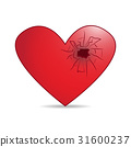 red heart with cracked hole isolated illustration 31600237
