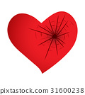 red heart with cracked hole isolated illustration 31600238