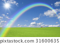有象草的平原,云彩,彩虹和太阳红色屋顶的议院 31600635