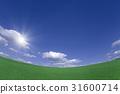 绿色草原和云彩和太阳 31600714