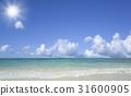 海灘和波浪,雲彩和太陽 31600905