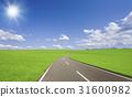 草原和云彩和太阳道路 31600982