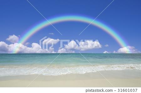 海灘和波浪,雲彩和彩虹 31601037