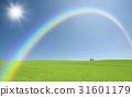 有象草的平原,云彩,彩虹和太阳红色屋顶的议院 31601179