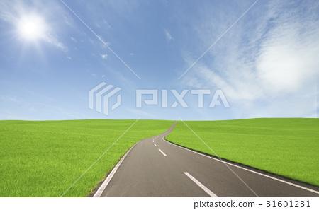 草原和云彩和太阳道路 31601231