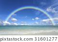 海灘和波浪,雲彩和彩虹 31601277