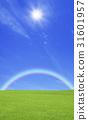 草原,彩虹和太陽 31601957