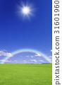 草原,彩虹和太陽 31601960