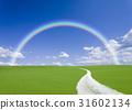 rainbow, straight path, blue sky 31602134