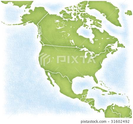 北美洲大陸和周圍的地圖 31602492