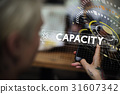 Capacity word graphic design with woman using mobile photo 31607342