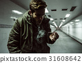 Homeless Adult Man Smoking Cigarette Addiction 31608642
