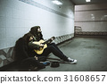 Homeless Couple Man Playing Guitar Asking For Money Donation 31608657