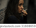 Homeless Adult Woman Smoking Cigarette Addiction 31608659