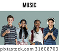 Group of Diverse Young Adult PeopleEnjoy Music Set Studio Isolated 31608703