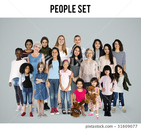 Diversity Women Set Gesture Standing Together Studio Isolated 31609077