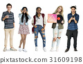 Group of Diverse Young Adult PeopleEnjoy Music Set Studio Isolated 31609198