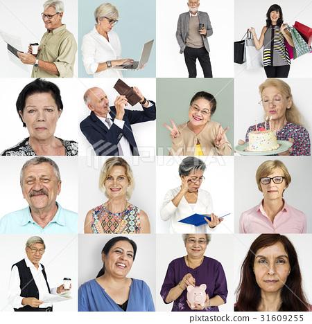 Senior Adult Enjoying Retirement Life Studio Portrait Collage 31609255