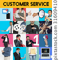 Customer Care Support Service Studio Portrait Collage Isolated 31609410