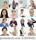 Senior Adult Enjoying Retirement Life Studio Portrait Collage 31609481
