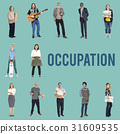 Various of occupation job people full body set standing with smiling on background 31609535