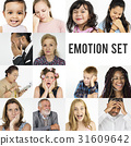 Diversity people set emotional on white background 31609642