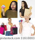 Set of Diverse Women Enjoying Sale Buy Shopping Studio Collage 31610003